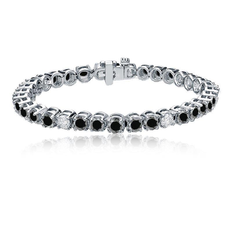 Black & White 10ctw. Diamond Tennis Bracelet in 14k White Gold