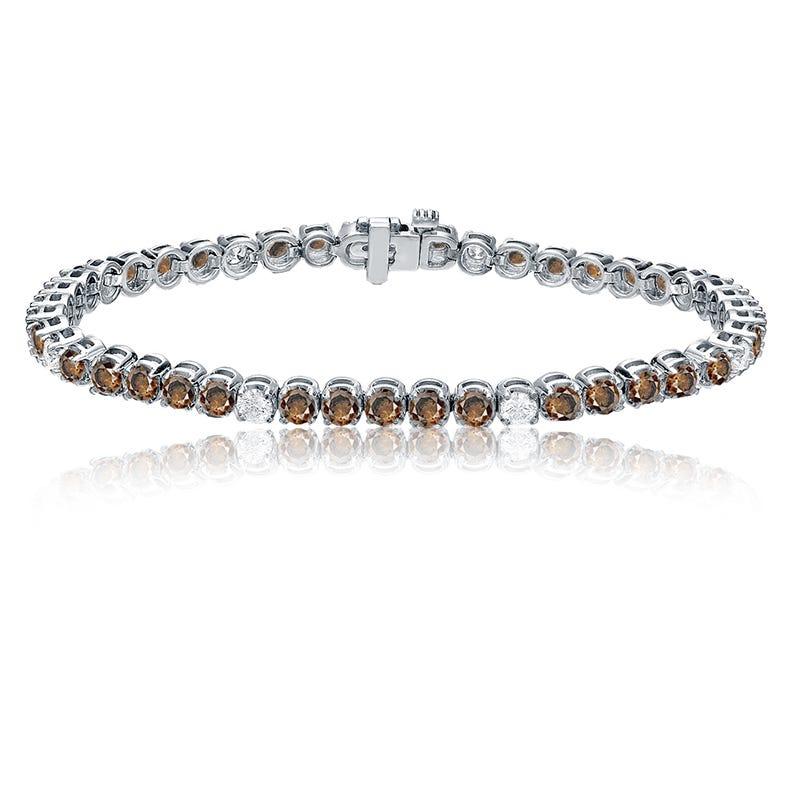 Champagne & White 6ctw. Diamond Tennis Bracelet in 14k White Gold