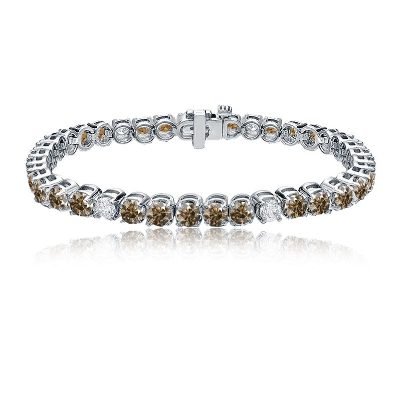 Champagne & White 7ctw. Diamond Tennis Bracelet in 14k White Gold