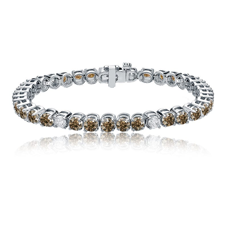 Champagne & White 8ctw. Diamond Tennis Bracelet in 14k White Gold