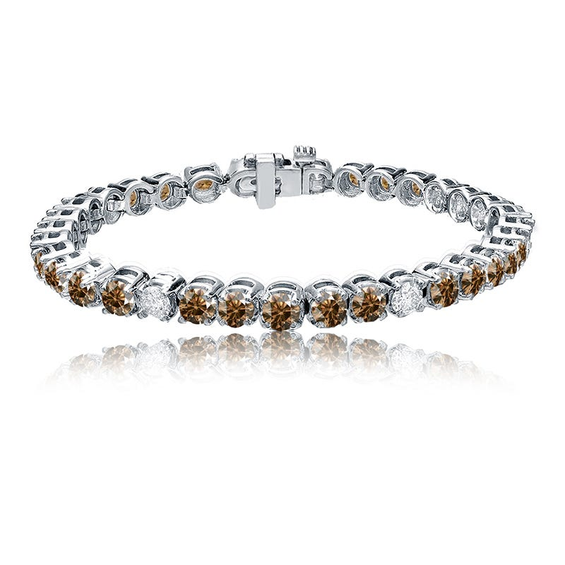 Champagne & White 10ctw. Diamond Tennis Bracelet in 14k White Gold