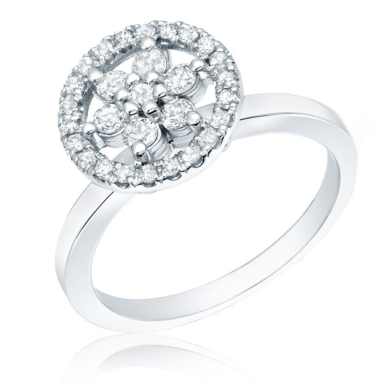 Flower Diamond ½ct. Halo Ring in 14k White Gold