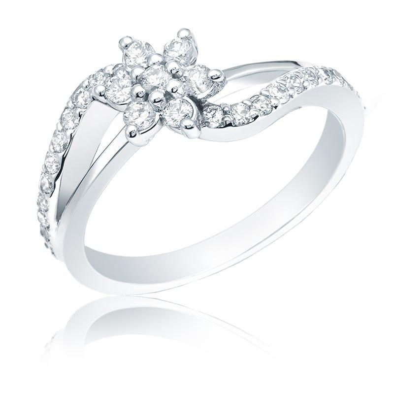 Diamond 1/2ct. Flower Fashion Ring in 14k White Gold