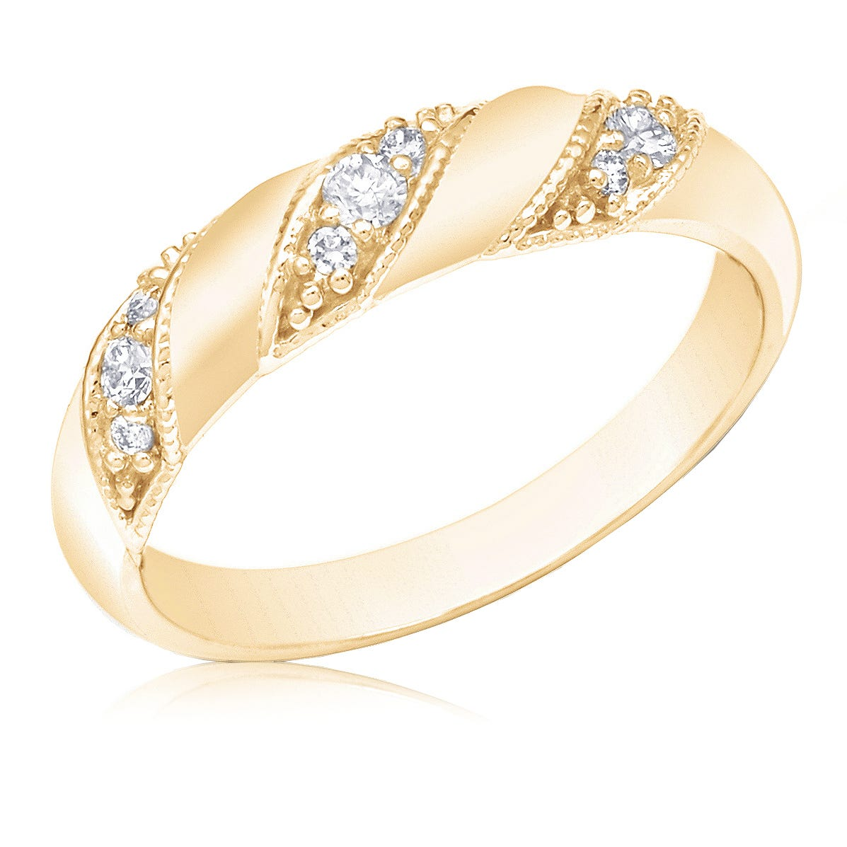 Diamond Fashion 1/4ct. 3-Stone Station Ring in 14k Yellow Gold