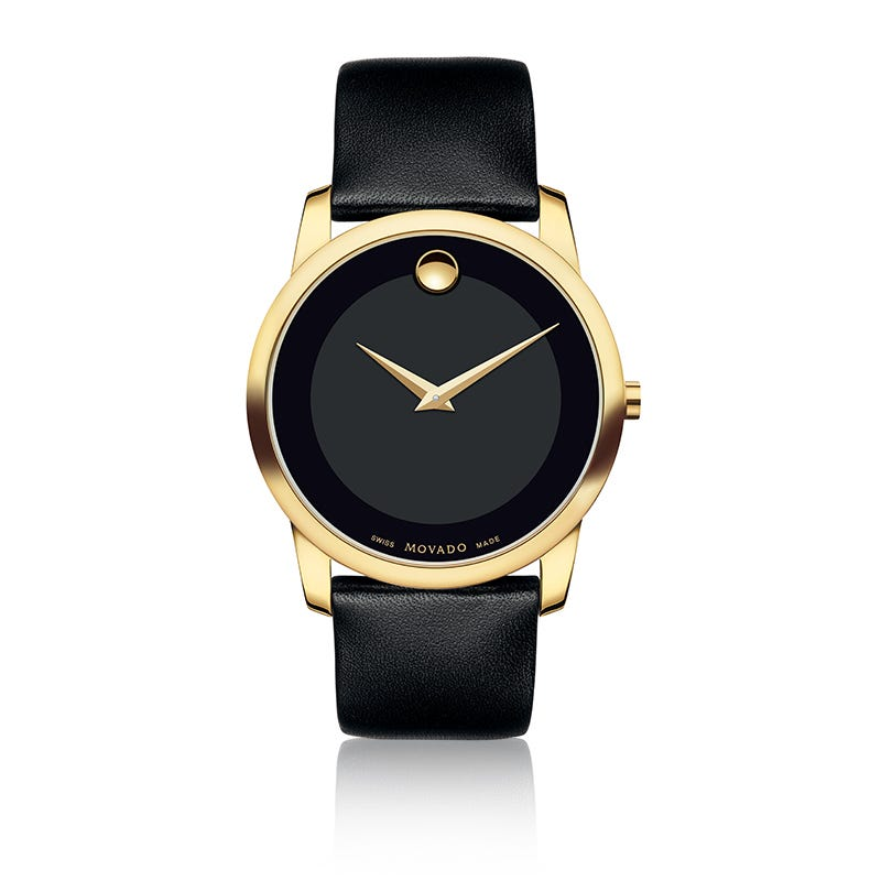 Movado Men's Museum Classic Gold PVD Black Leather Strap Watch 606876