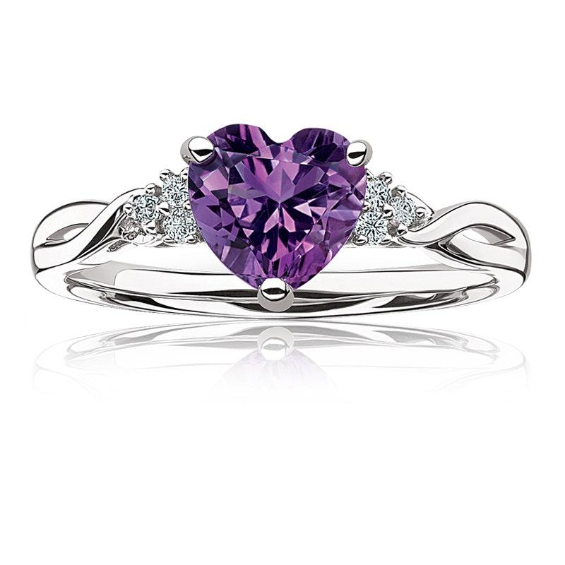 Purple Amethyst Facet Cut Heart Shaped Gemstone Earrings Sterling Silver NEW