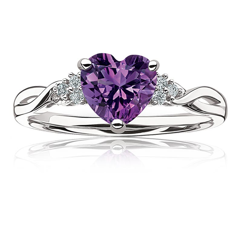 Amethyst Heart & Diamond Ring in Sterling Silver