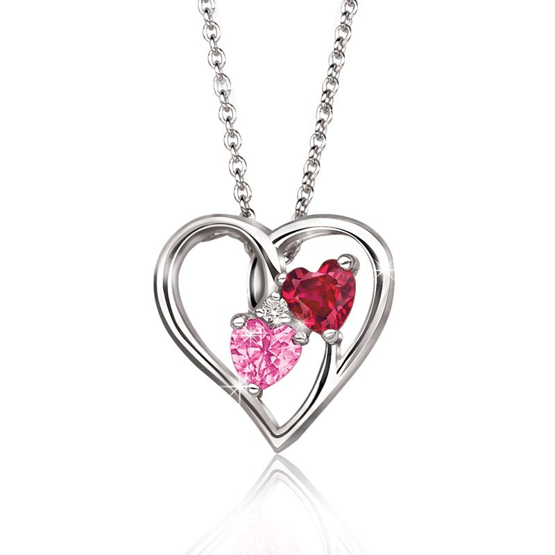 Hearts-In-Heart Pink & Ruby Gemstone Pendant in Sterling Silver
