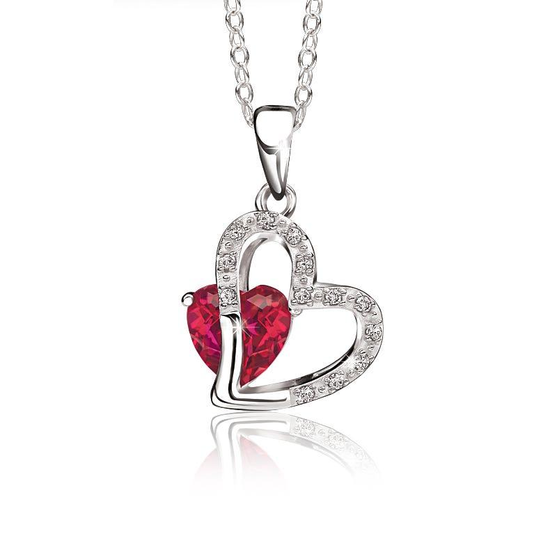 Heart-in-Heart Created Ruby & Diamond Pendant