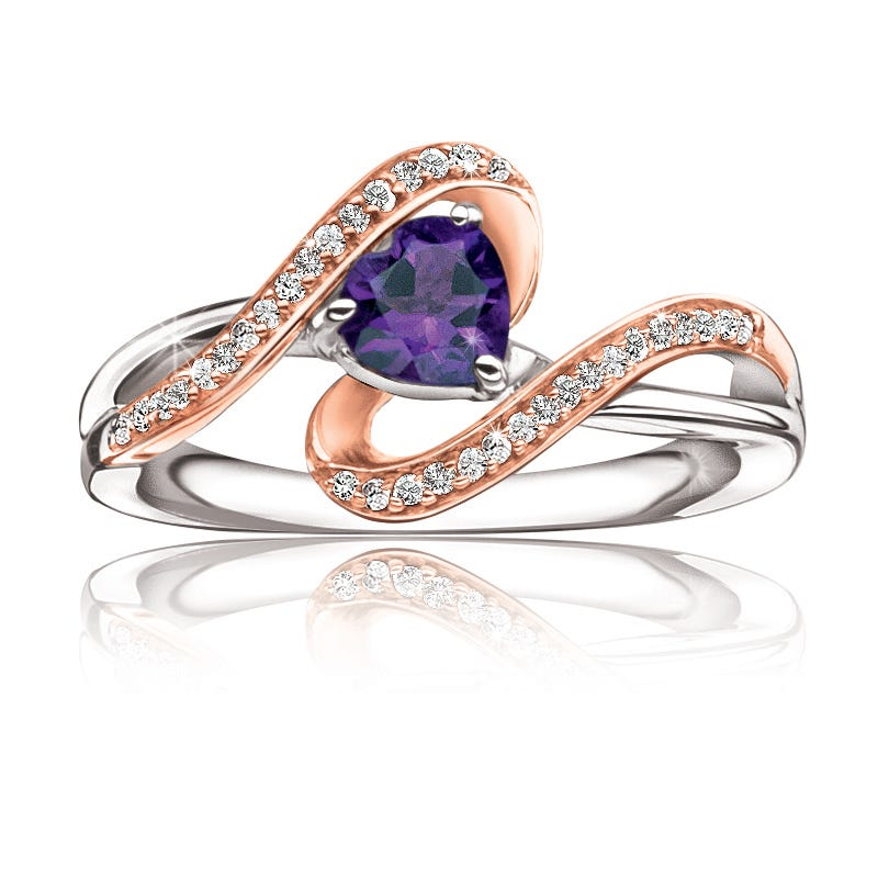 Amethyst Heart & Diamond Ring in 10k Rose Gold & Sterling Silver