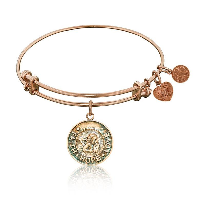 Faith-Hope-Love Charm Bangle Bracelet in Pink Brass