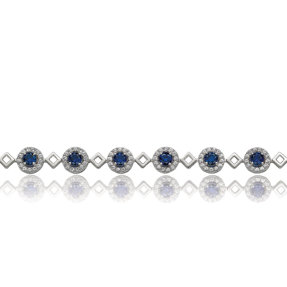Blue & White Created Sapphire Bracelet in Sterling Silver