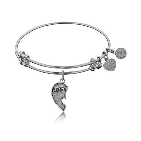 Sisters Left Half of Heart Charm Bangle Bracelet in White Brass