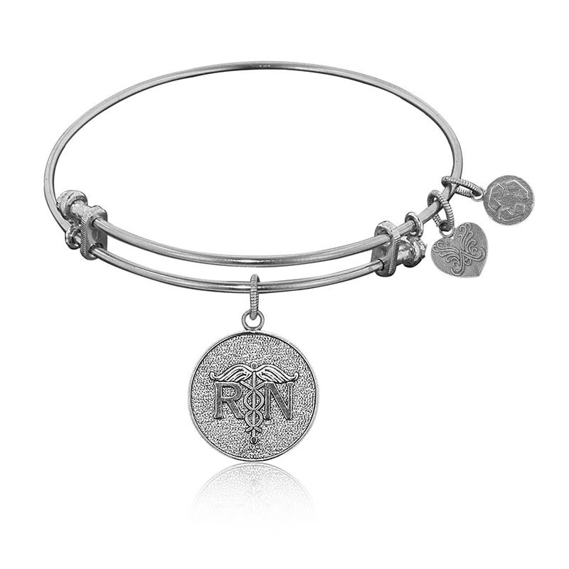 RN Registered Nurse Charm Bangle Bracelet in White Brass