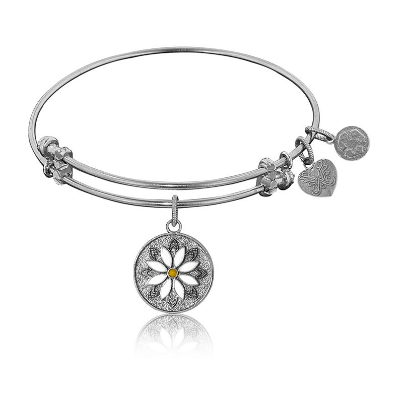 Daisy Charm Bangle Bracelet in White Brass