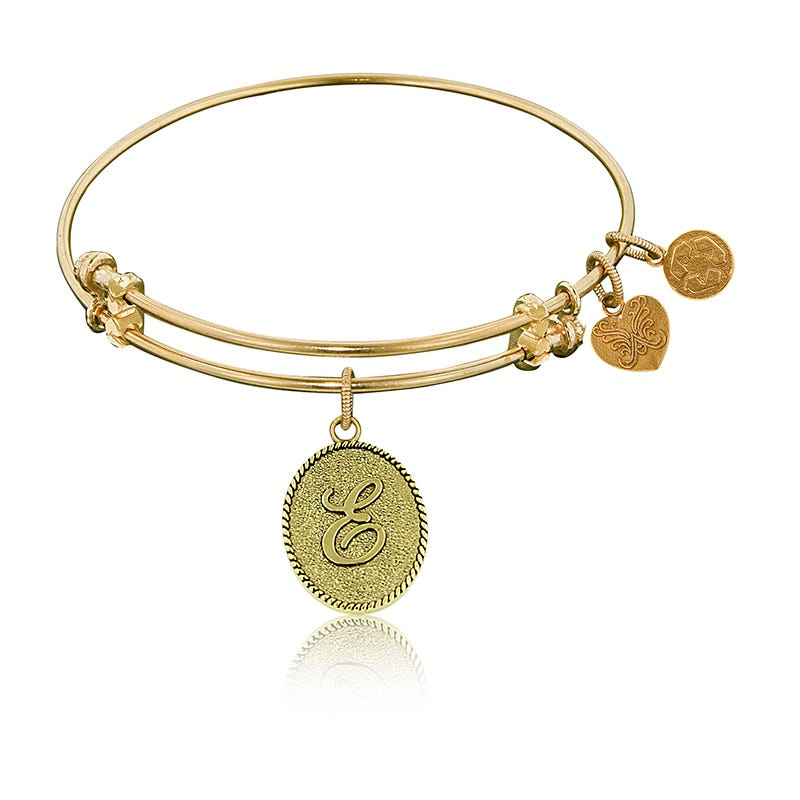 Initial E Charm Bangle Bracelet in Yellow Brass