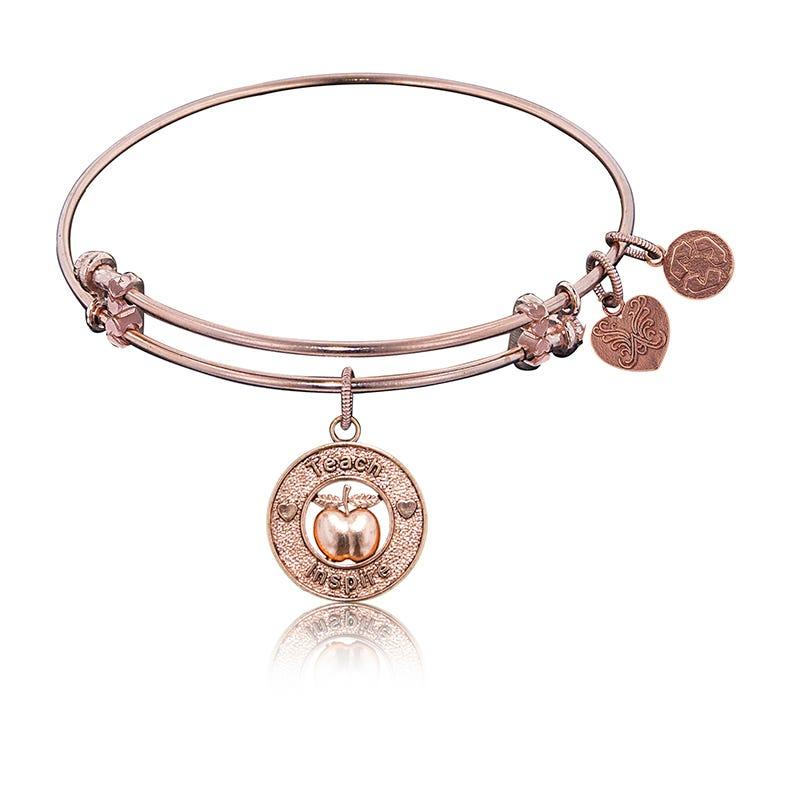 Apple-Teach-Inspire Charm Bangle Bracelet in Pink Brass