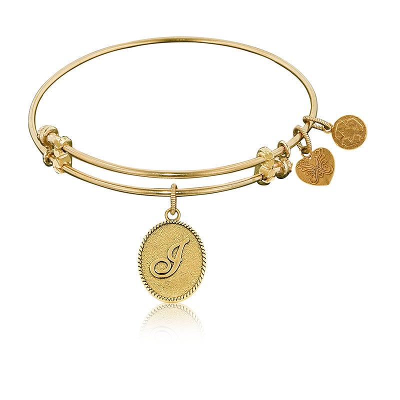 Initial J Charm Bangle Bracelet in Yellow Brass