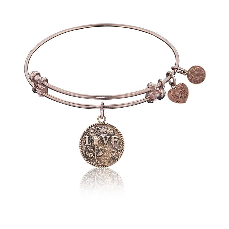 The Perfect Rose Charm Bangle Bracelet in Pink Brass