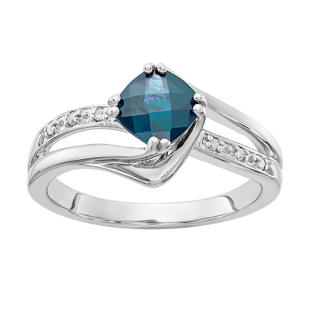 Created Alexandrite & Diamond Ring in Sterling Silver