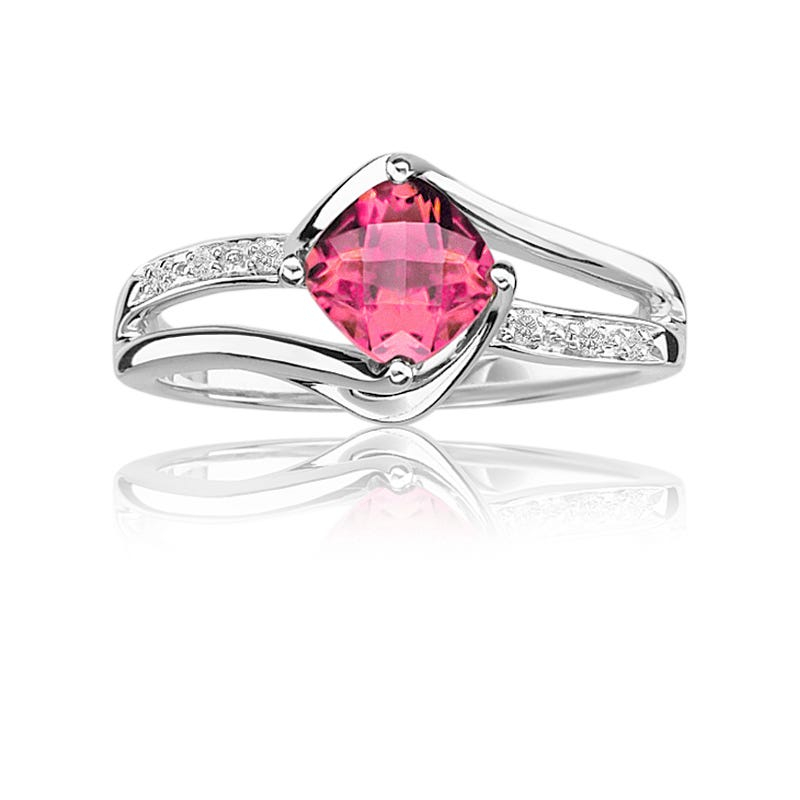 Created Pink Sapphire & Diamond Birthstone Ring in Sterling Silver