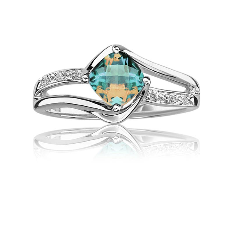 Blue Magic Topaz & Diamond Ring in Sterling Silver