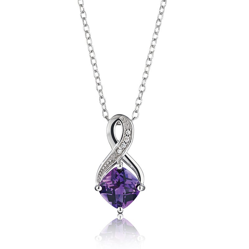Amethyst & Diamond Birthstone Pendant in Sterling Silver