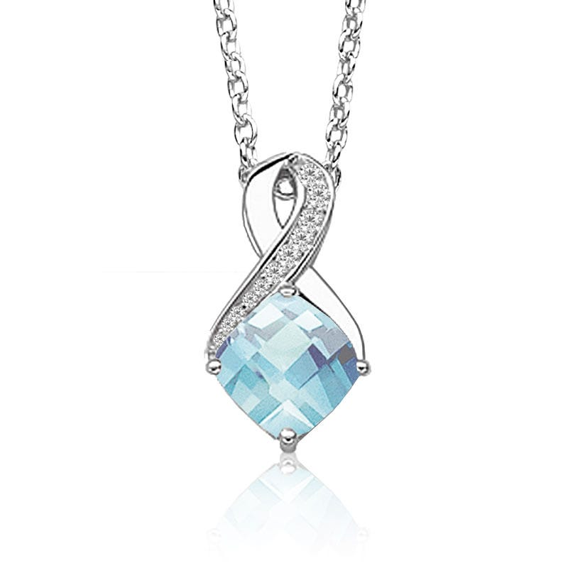Aquamarine & Diamond Birthstone Pendant in Sterling Silver
