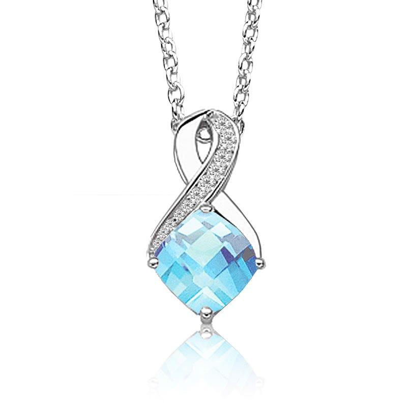 Blue Topaz & Diamond Birthstone Pendant in Sterling Silver