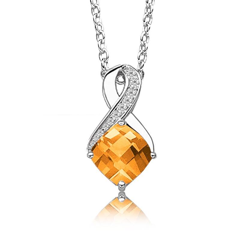 Citrine & Diamond Birthstone Pendant in Sterling Silver
