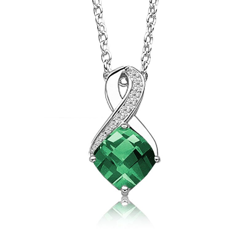 Created Emerald & Diamond Birthstone Pendant in Sterling Silver