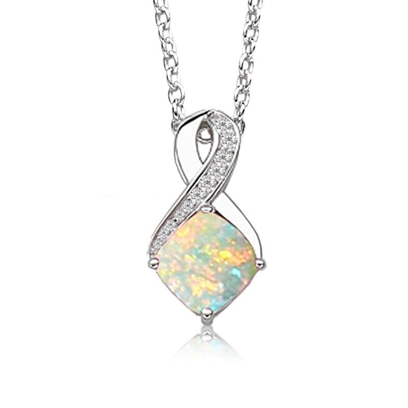 Created Opal & Diamond Birthstone Pendant in Sterling Silver