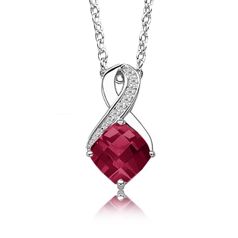 Created Ruby & Diamond Birthstone Pendant in Sterling Silver