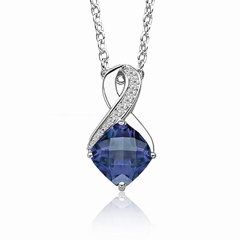 Created Sapphire & Diamond Birthstone Pendant in Sterling Silver