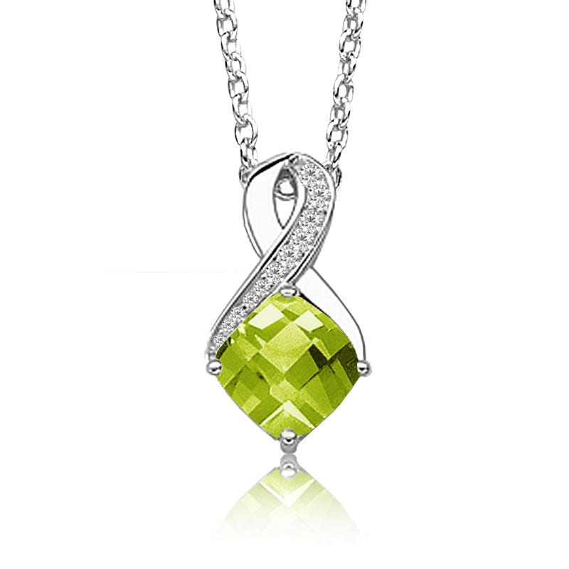 Jewelry Necklaces Gemstone Sterling Silver and 14K Peridot Diamond Necklace