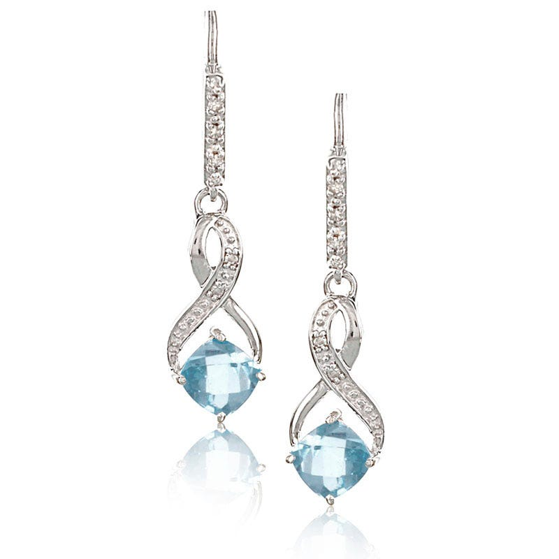 Aquamarine & Diamond Dangle Earrings in Sterling Silver