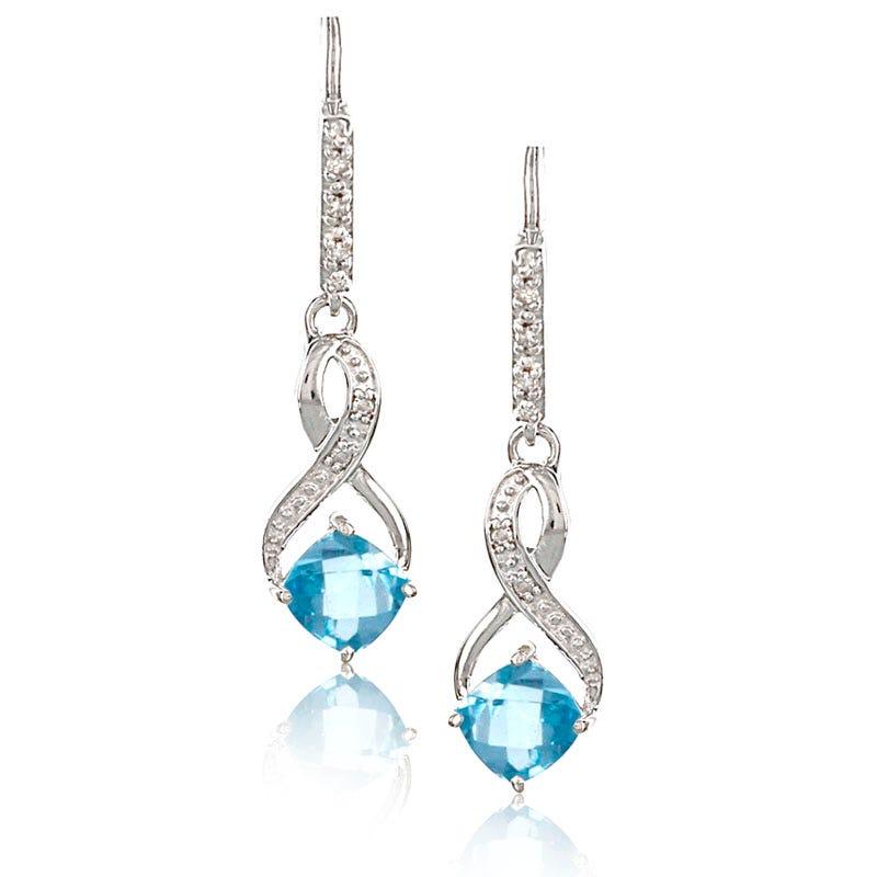 Blue Topaz & Diamond Dangle Earrings in Sterling Silver