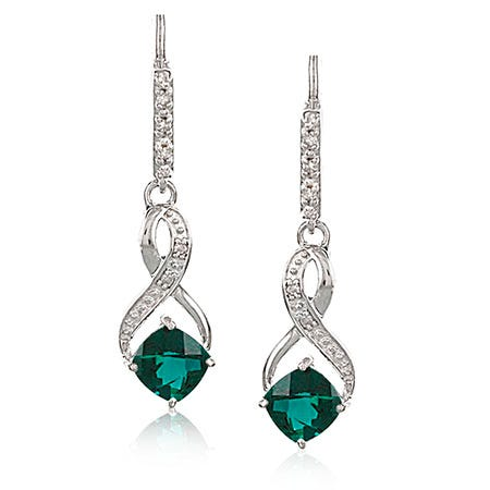 Created Emerald & Diamond Dangle Earrings in Sterling Silver