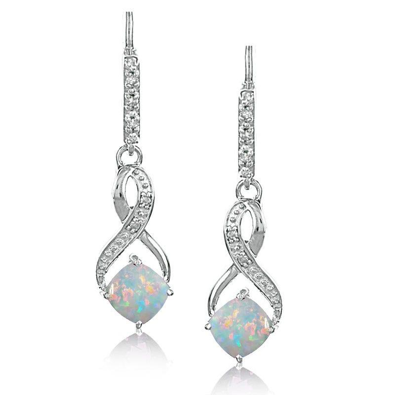 Created Opal & Diamond Dangle Earrings in Sterling Silver