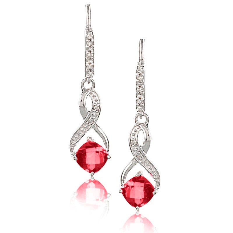 Created Ruby & Diamond Dangle Earrings in Sterling Silver