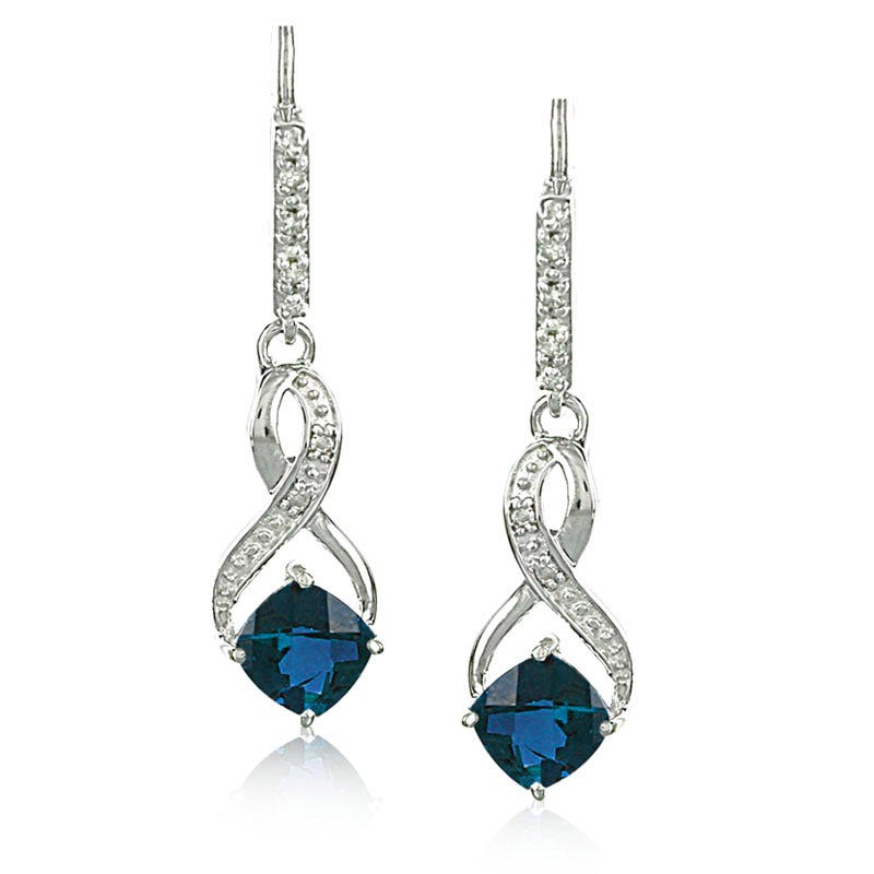 Created Sapphire & Diamond Dangle Earrings in Sterling Silver