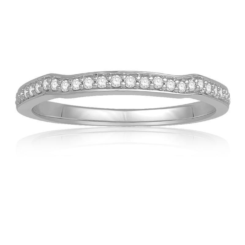 Ecoura Brilliant-Cut Diamond Wedding Band in 14k White Gold