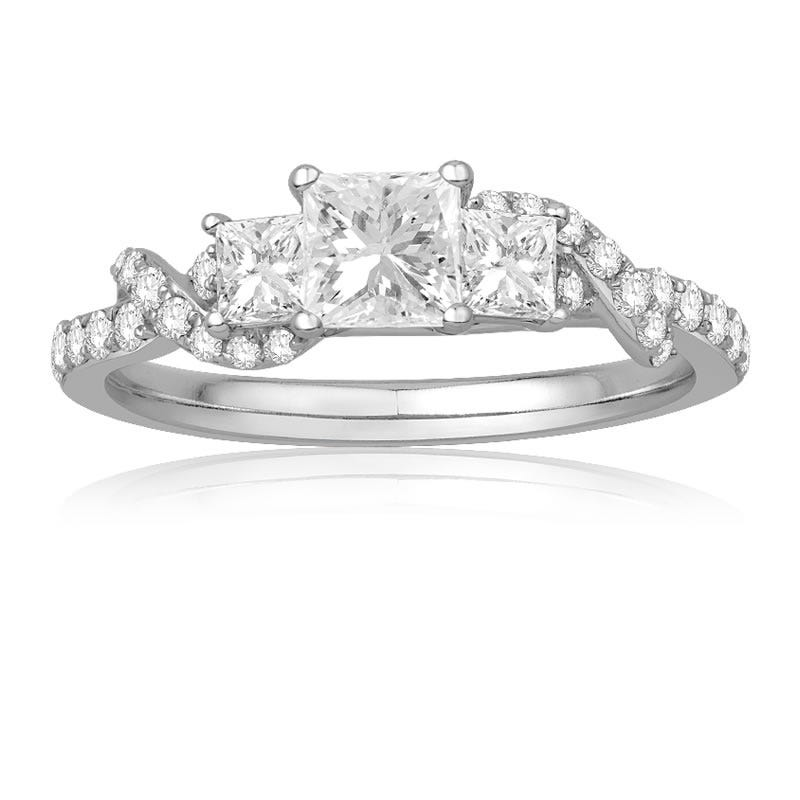 Ecoura Three Stone Princess-Cut Twist Engagement Ring in 14k White Gold