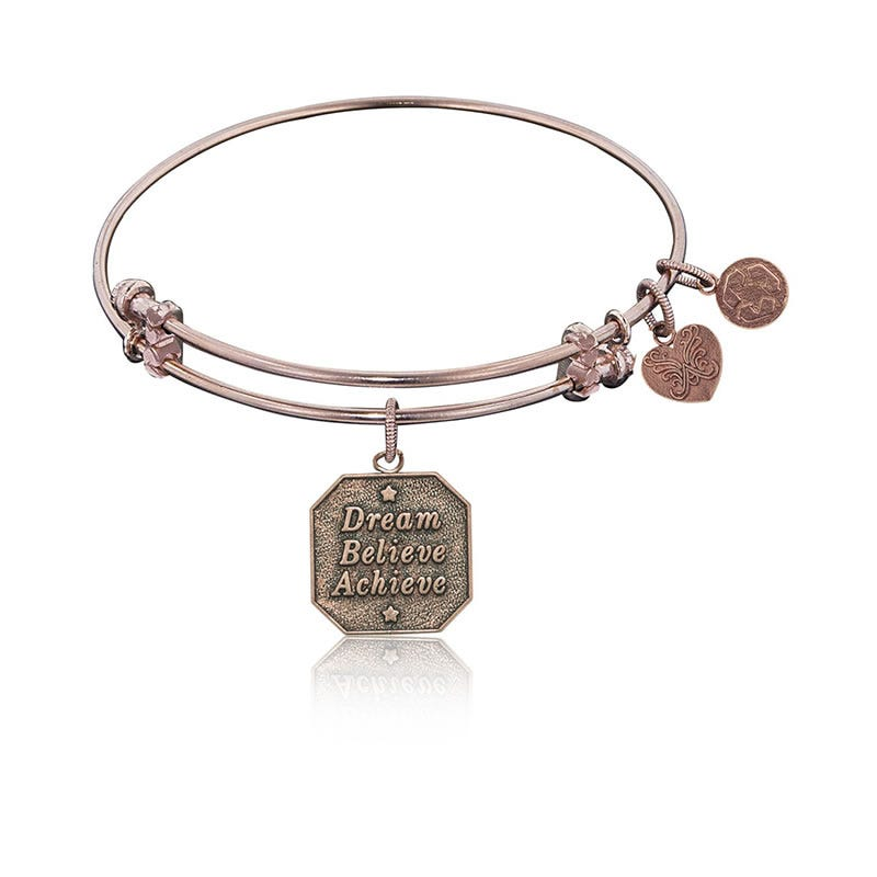 Dream, Believe, Achieve Charm Bangle Bracelet in Pink Brass