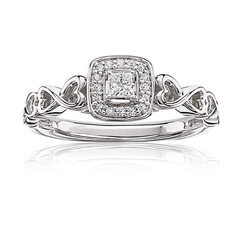 Princess-Cut & Diamond Halo Promise Ring in 10k White Gold