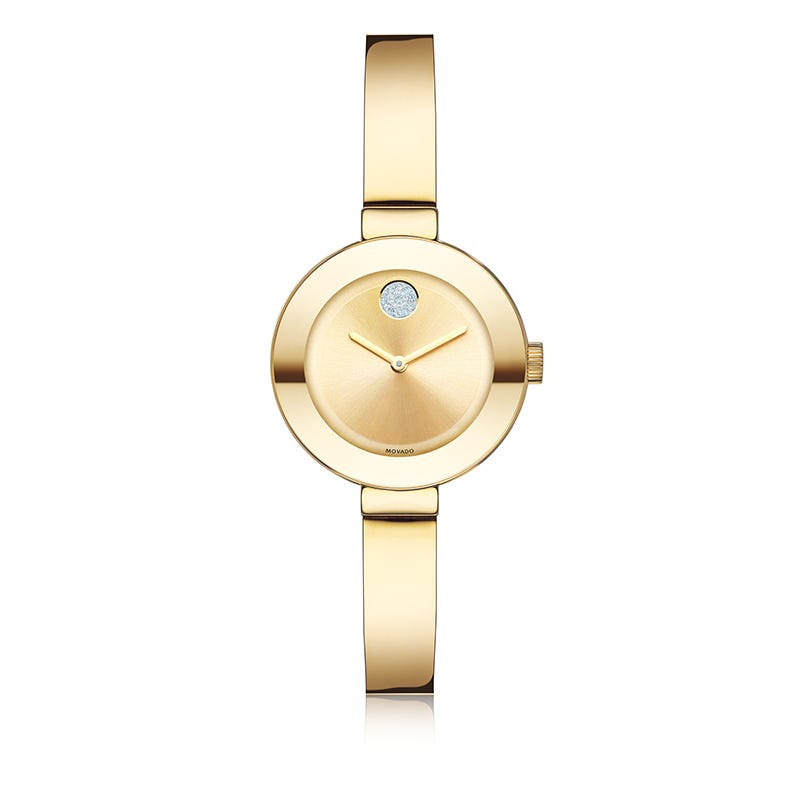 Movado Bold Small Gold Plated Bangle Bracelet Watch 3600285