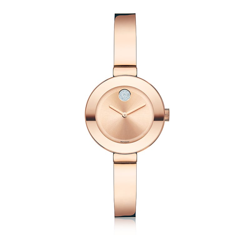 Movado Bold Small Rose Gold Plated Bangle Bracelet Watch 3600286
