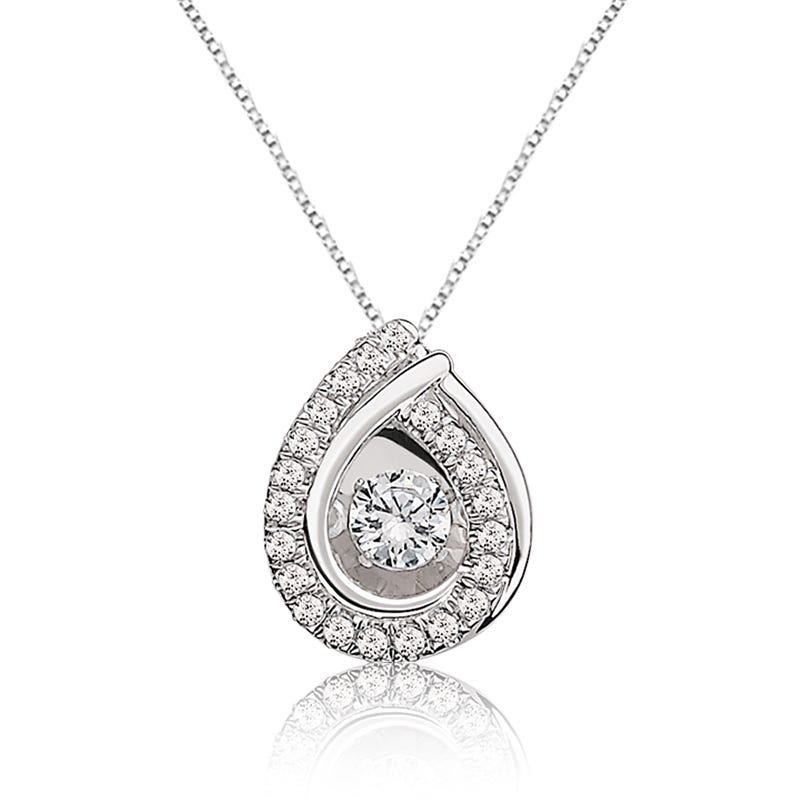 Beats of Love Diamond Teardrop Pendant in 10k White Gold