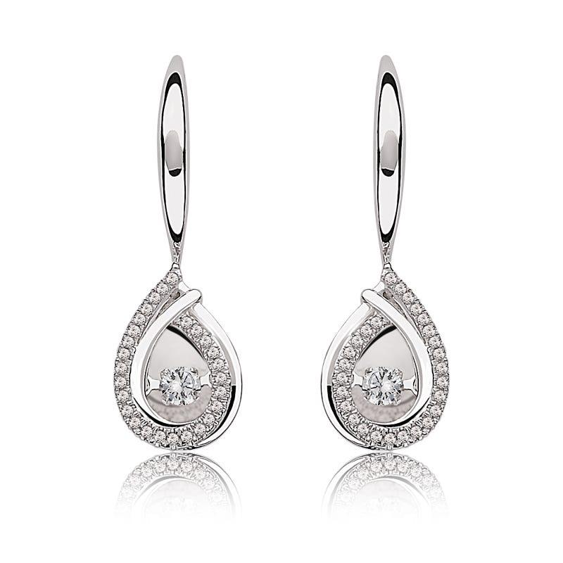 Beats of Love Diamond Dangle Earrings in 10k White Gold