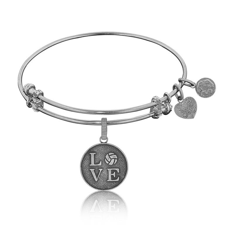 Volleyball Charm Bangle Bracelet in White Brass